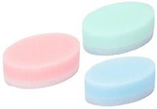 3 svampar för mångfärgad oval för bad set Arkivfoto