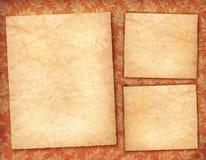 3 tarjetas del pergamino Fotografía de archivo libre de regalías