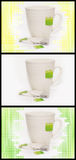 3 Teacup Variations. Teacup and tea bags in yellow, green and isolated background Stock Photo