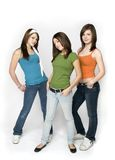 3 teen girls. Full length studio shot of 3 teen girls standing Stock Photography