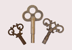 3 three skeleton antique clock keys isolated  Stock Image
