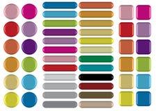 3 tipos botones de colorfulã3D Imagen de archivo
