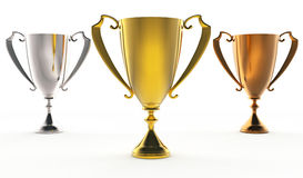 3 trophies. 3D illustration of Front view of 3 trophies : golden, silver and bronze Stock Photo
