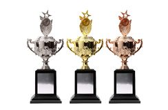 3 trophy. Multi color on white stock images