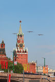 3 Tu-95ms volent au-dessus du grand dos rouge Image libre de droits