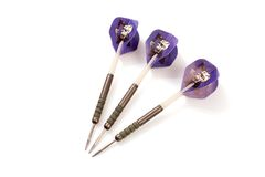 3 Tungsten Darts With Skull Grim Reaper Flights. Set of 3 Tungsten Darts With Skull Grim Reaper Flights Royalty Free Stock Photography