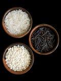 3 types van rijst het knippen weg Stock Fotografie