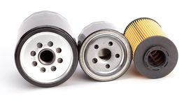 3 unique oil filters on a white background Stock Photo