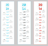 3 upright calendars for 2014. A set of three slightly different upright calendars for 2014 Royalty Free Stock Images