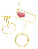 3 Valentine Gifts Tags. Gold outlined gift tags with hearts on white backgrounds Stock Images