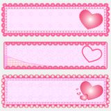 3 Valentine's banner Royalty Free Stock Photography