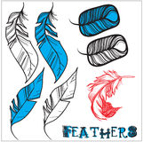 3 variants of bird feathers. Vector set with 3 variants of bird feathers Stock Photography