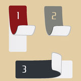 3 various retro-styled. Color stickers on grey background Stock Photos