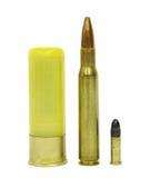 3 verschillende kaliberpatronen Stock Foto's