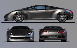 3 views of src15. The SRC15 is my own design of a gt sports coupé, this image is ideal for use as a poster because of its very high resolution.  The views were Stock Photography