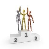 3 vincitori oro, argento, bronzo Immagini Stock