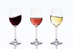 3 vinos swashing suavemente Fotos de archivo
