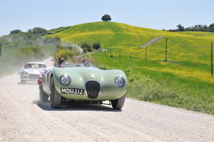 3 vintage cars Jaguar C-Type, Mercedes SL Gullwing Stock Photos