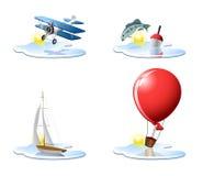 3 wakacyjny ikon wakacje Zdjęcia Royalty Free