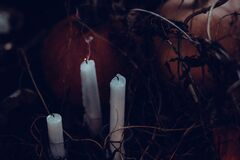 3 White Candles Without Light Stock Photos