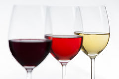 3 wines focus on white Stock Images