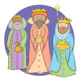 3 Wise Men. Hand drawn picture of the 3 wise men carrying gold, frankincense and myrrh. Illustrated in a loose style. Vector eps available stock illustration