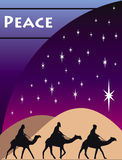 3 Wise Men Card. 3 Wise men kings in Bethlehem on Christmas Day Royalty Free Stock Photo