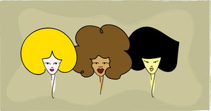 3 women. Vector design of 3 women with big hair vector illustration