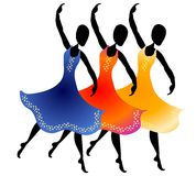 3 Women Dancing Clip Art. A clip art illustration of 3 women lined up dancing with colorful long flowing dresses. Sorry, extra format is not available for this Vector Illustration