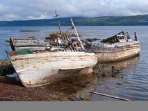 3 wrecks mull. 3 abandoned shipwreck on the coast of the isle mull in scotland Stock Photo
