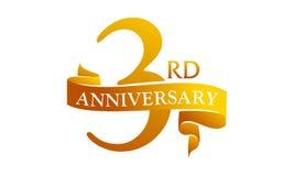 Free 3 Year Ribbon Anniversary Royalty Free Stock Photos - 103976808