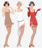 3 young beautiful flapper women of 1920s. Flapper girls set: three young beautiful women of 1920s in different dresses Stock Illustration