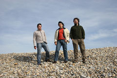 3 young men posing. At the beach royalty free stock photo