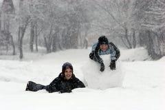 3 zabaw śnieg obrazy royalty free