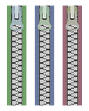 3 zipper fasteners. Three zipper clasps on a white background Stock Images