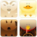 3 zwierzęcia uprawiają ziemię ikona set Obraz Stock