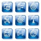 30蓝色按钮玻璃 免版税库存照片