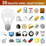 30 ícones realísticos Foto de Stock Royalty Free