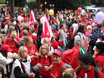 30.000 opvoeders op Staking in Duitsland Stock Fotografie