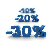 30-20-10% - isolated on white. 30-20-10% - isolated 3D render illustration with shallow dof Royalty Free Illustration