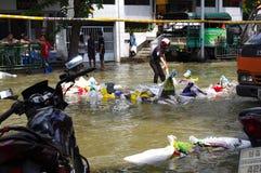 30,2011 oktober de vloed van Bangkok Stock Foto's