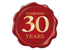 30 Anniversary Wax seal Stock Photos