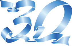 30 blue ribbon. Vector blue ribbon formed the 30 number Stock Photography
