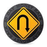 30 day money back guarantee label with road sign. 30 day money back guarantee label with yellow road sign Royalty Free Stock Photos