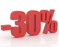 30% discount. Red 3D signs showing 30% discount and clearance Royalty Free Stock Photos