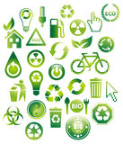 30 Eco Bio Icons Stock Images