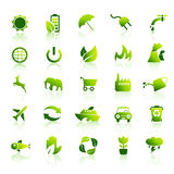 30 Eco green icons set 1. 30 Green vector icon collection nr.1 Stock Image