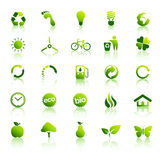 30 Eco green icons set 2. 30 Green vector icon collection nr.2 Royalty Free Stock Photos
