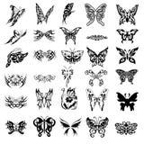 30 fjärilssymboltatueringar royaltyfri illustrationer