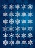 30 flocos de neve originais em tudo/6 jogos diferentes Fotos de Stock
